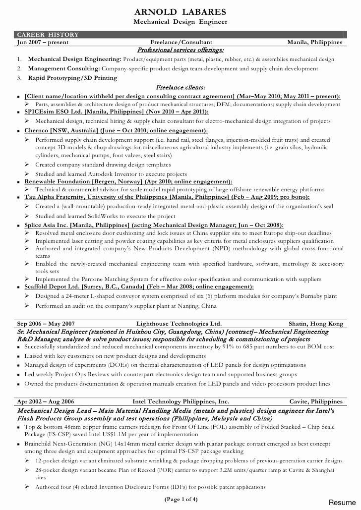 Experienced Mechanical Engineer Resume Lovely 12 13 Mechanical Engineering Resumes Samples