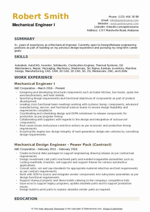 Experienced Mechanical Engineer Resume Lovely Mechanical Engineer Resume Samples