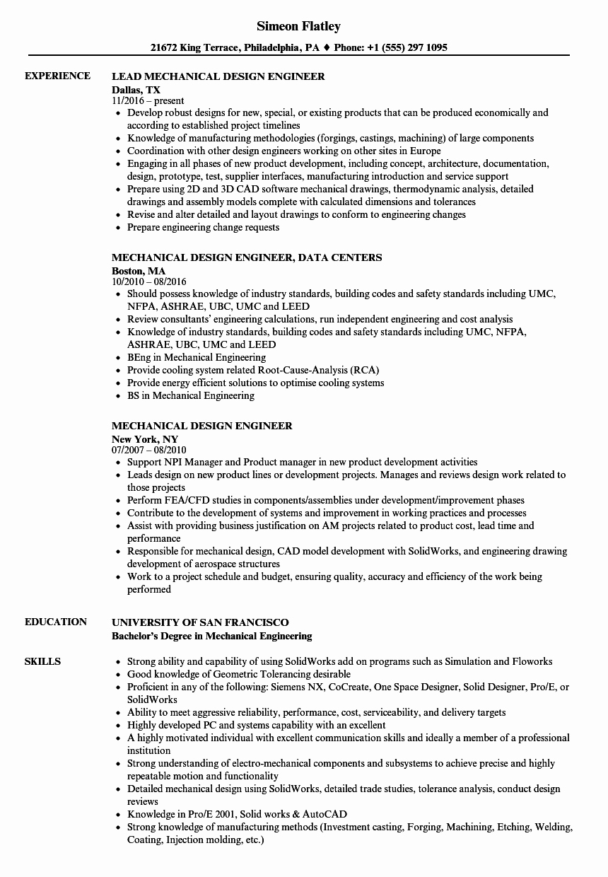 Experienced Mechanical Engineer Resume New Resume Samples for Design Engineers Mechanical Mechanical Design Engineer Resume Sample