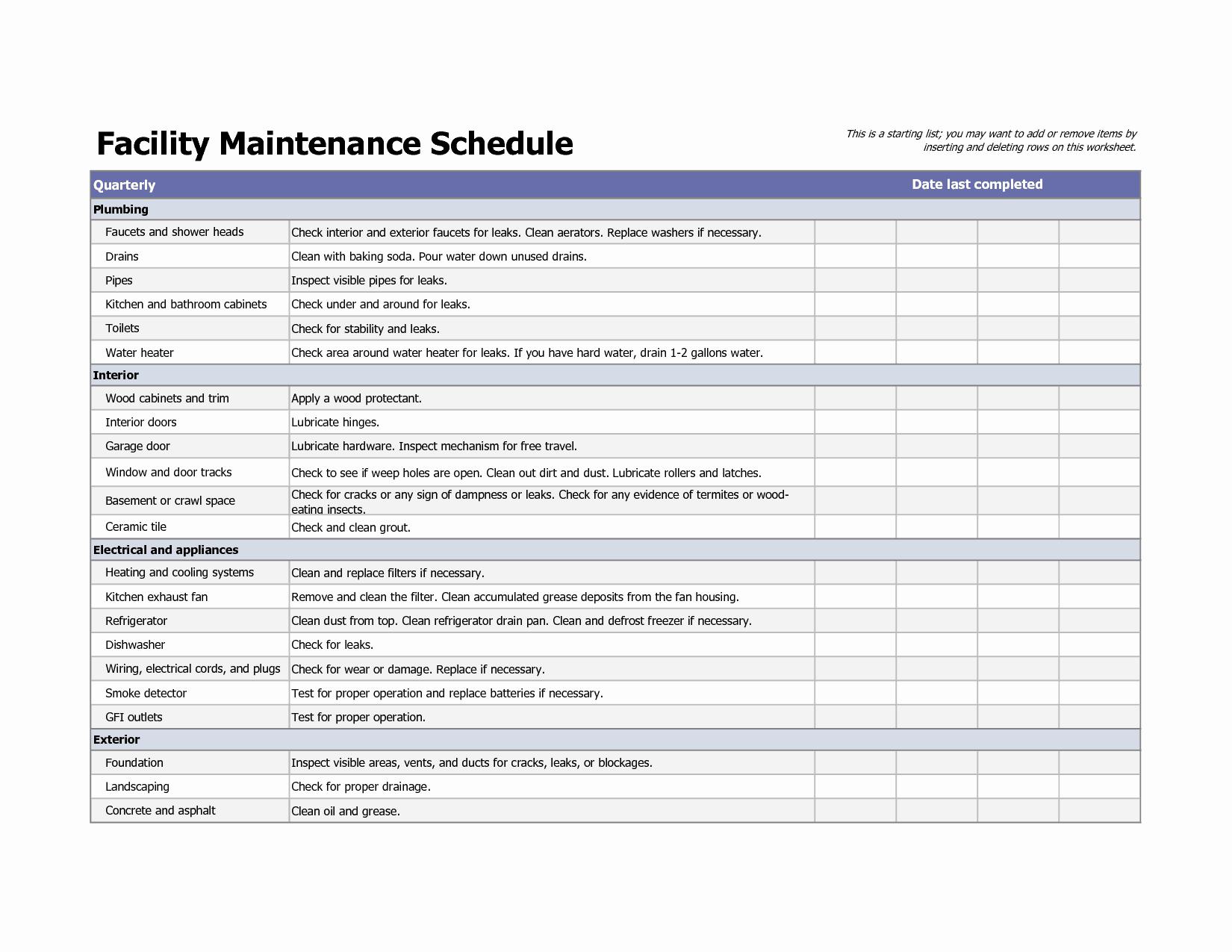 Facility Maintenance Checklist Template Unique 4 Facility Maintenance Checklist Templates Excel Xlts