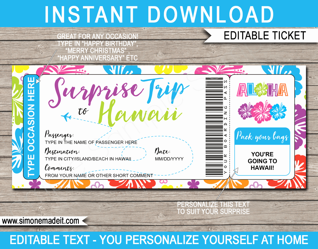Fake Boarding Pass Template Lovely Surprise Trip to Hawaii Fake Boarding Pass Template