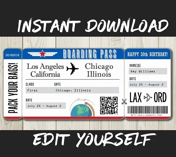Fake Boarding Pass Template Unique Diy Printable Editable Boarding Pass Surprise Fake Airline Ticket Trip Gift Print Airplane