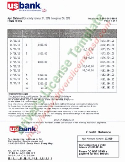 Fake Chase Bank Statement New Drivers License Fake Drivers License Drivers License Psd
