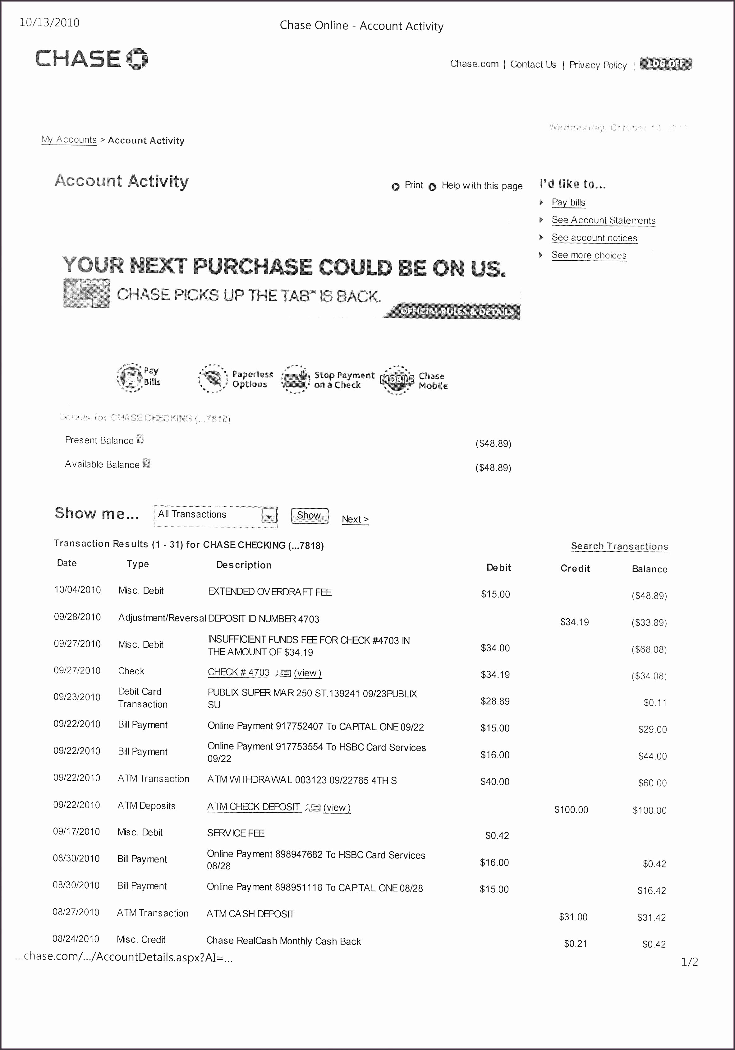 Fake Chase Bank Statement Unique Fake Bank Statements Chase