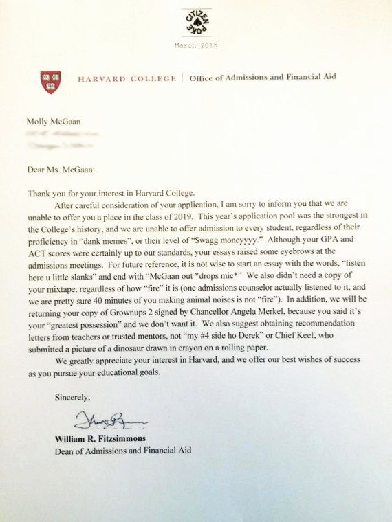 Fake College Acceptance Letter Elegant somebody Give This High Schooler An Award for Her Fake Harvard Rejection Letter