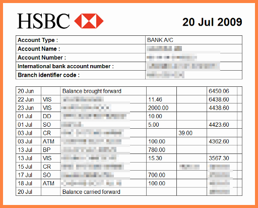 3 bank statement example