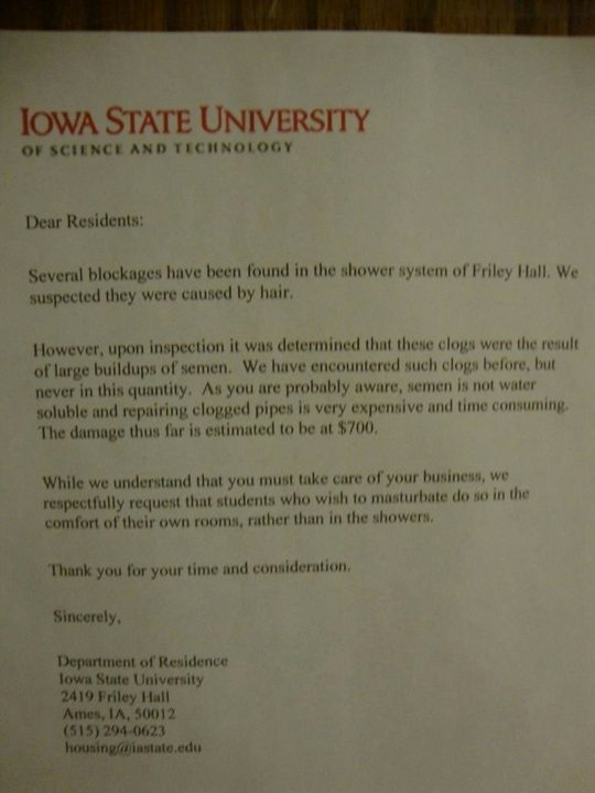 Fake College Acceptance Letter Inspirational 25 Fake Letters Warning Students Not to Masturbate In Dorm Showers