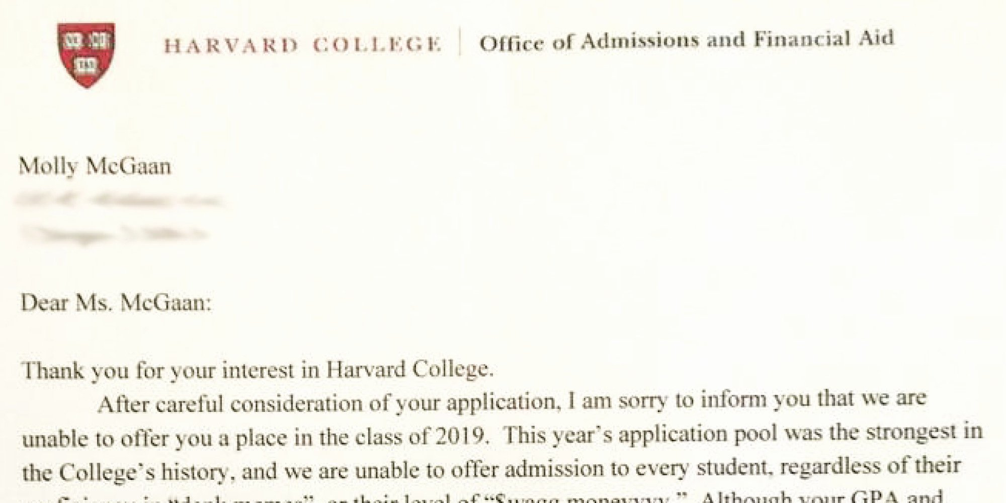Fake College Acceptance Letter Inspirational somebody Give This High Schooler An Award for Her Fake Harvard Rejection Letter