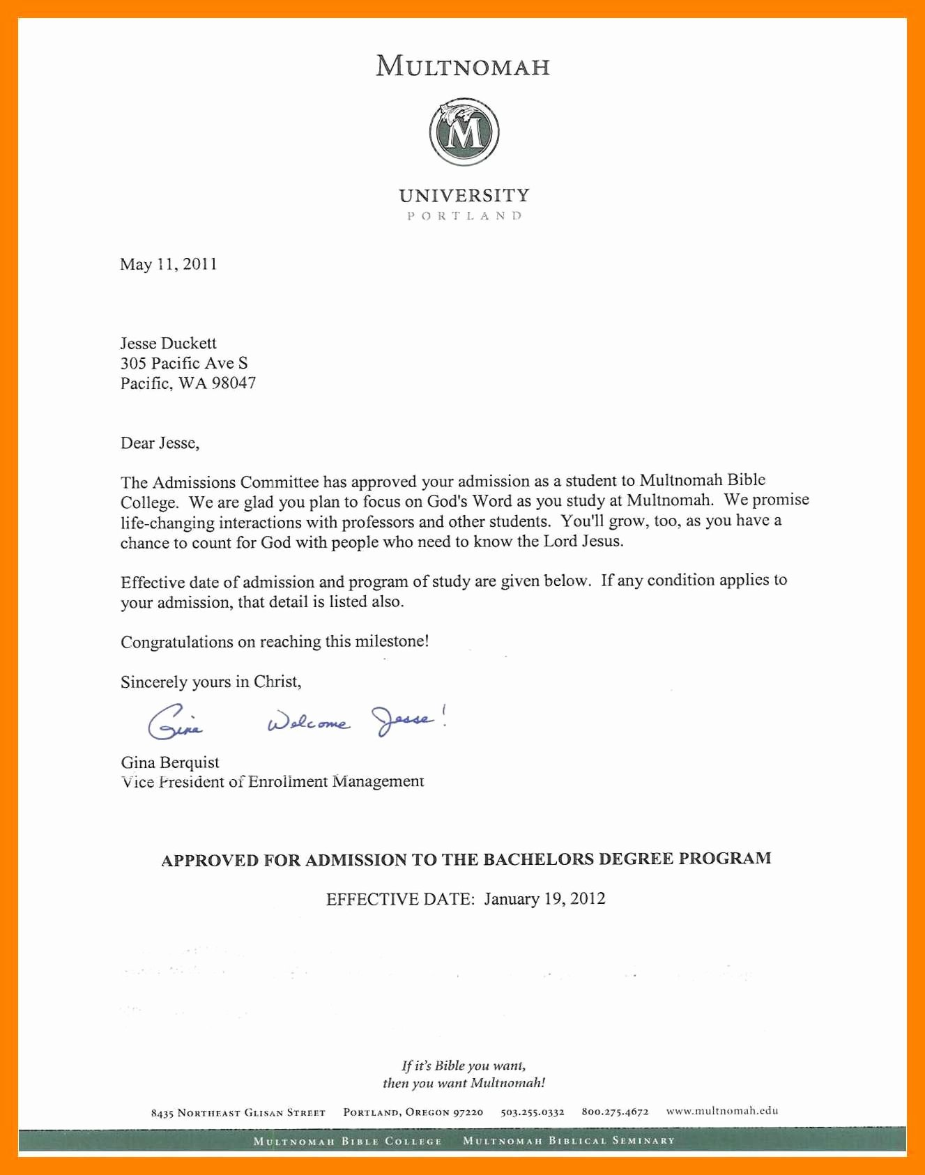 Fake College Acceptance Letter New Letter Sample – New Pany Driver