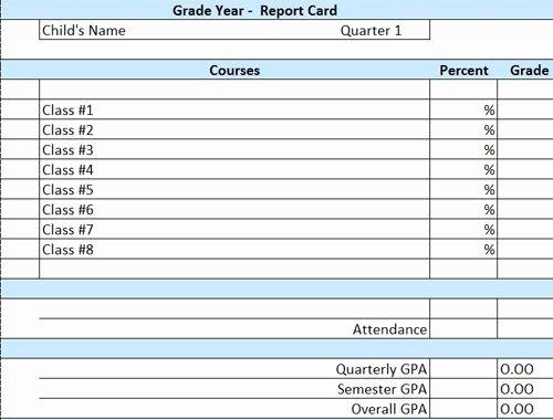 Fake Credit Report Template Beautiful Homeschool Printable Report Card Template