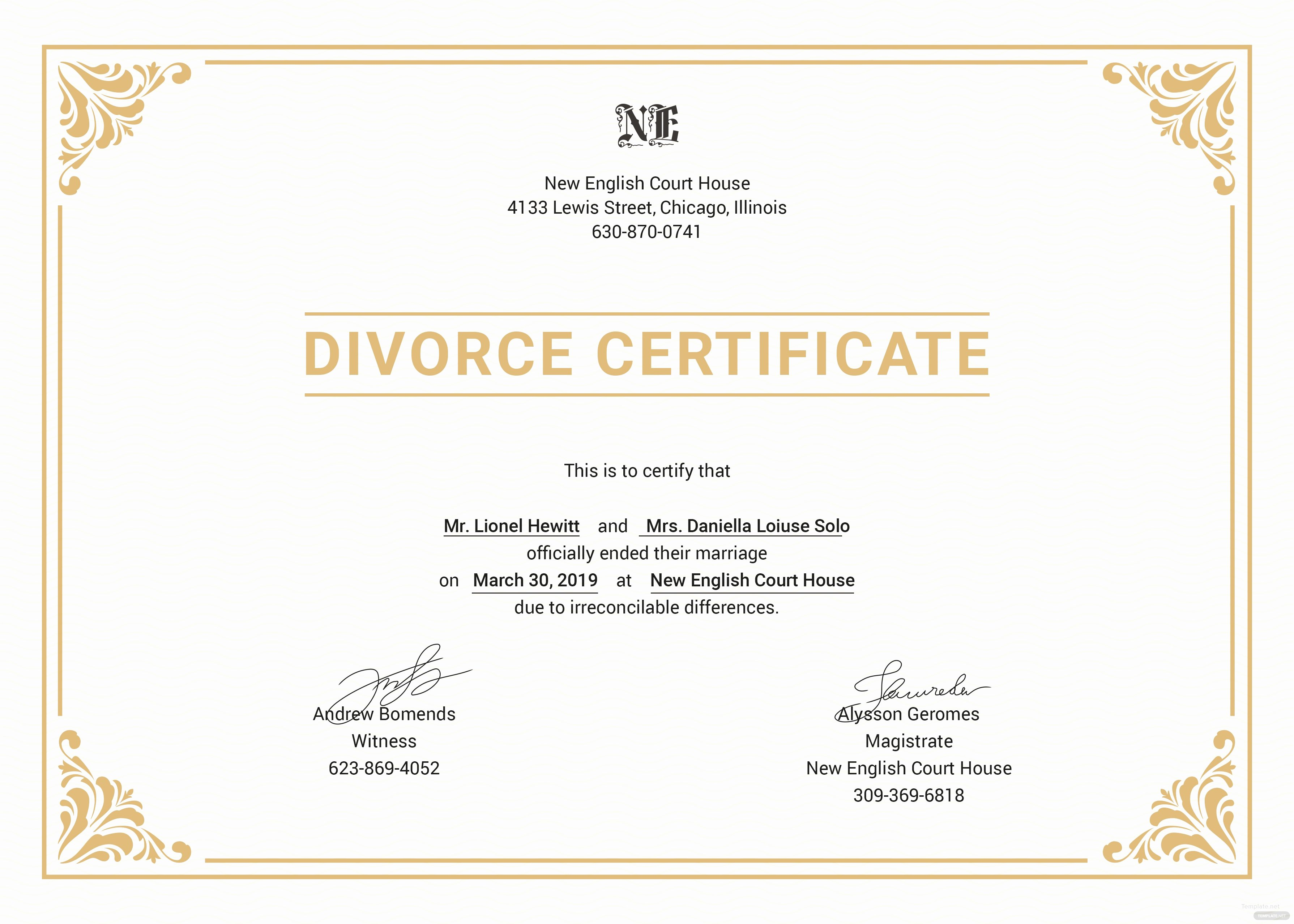 Fake Divorce Certificate Maker New Free Divorce Certificate Template In Psd Ms Word
