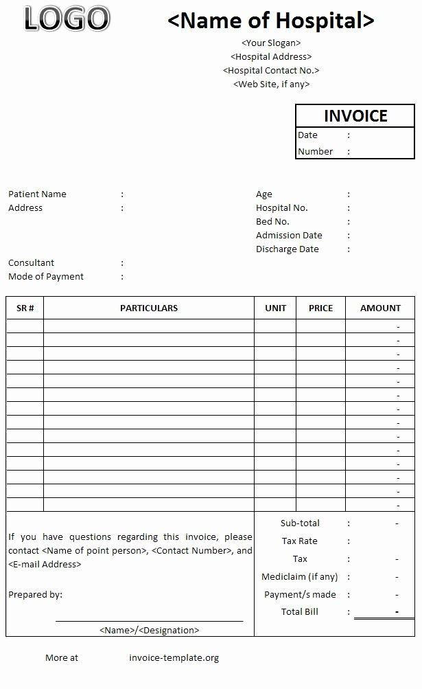 Fake Medical Bills format Lovely Best Printable Hospital Billing Invoice Template with Logo Space and Patient Details and Table