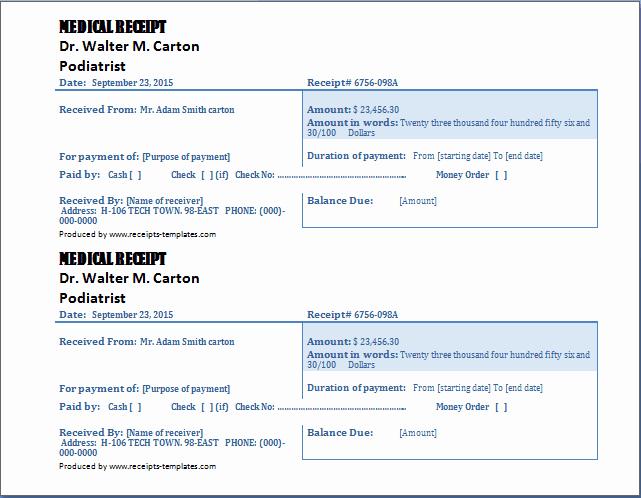 Fake Medical Bills format Unique 4 Free Doctor Receipt Templates Word Excel Pdf formats