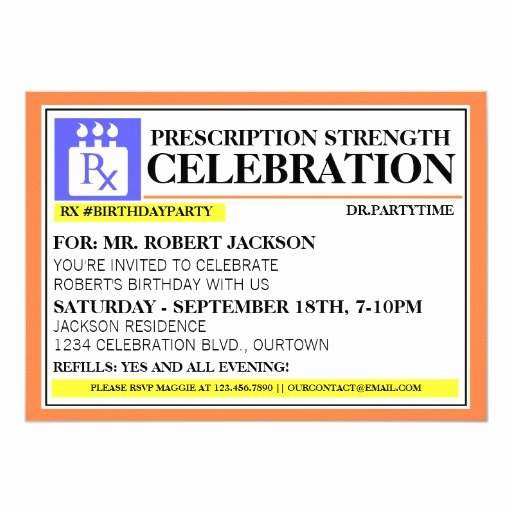 Fake Prescription Bottle Label Template Awesome Funny Prescription Label Party Invitations