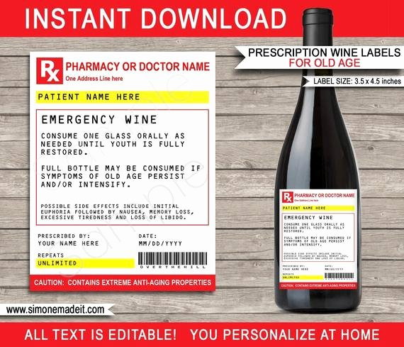 Fake Prescription Bottle Label Template Elegant Prescription Wine Bottle Labels for Old Age Printable Funny Prank Gag Birthday Gift Medical