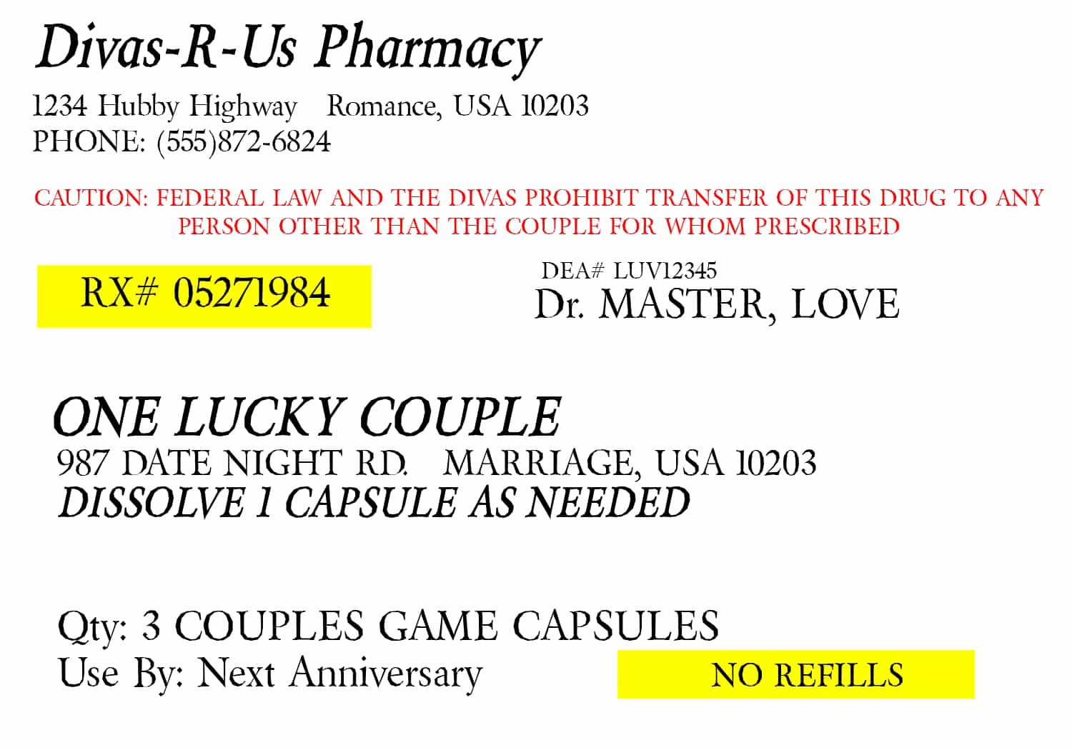 Fake Prescription Bottle Label Template Lovely Prescription for Fun A Free Printable Romance Idea