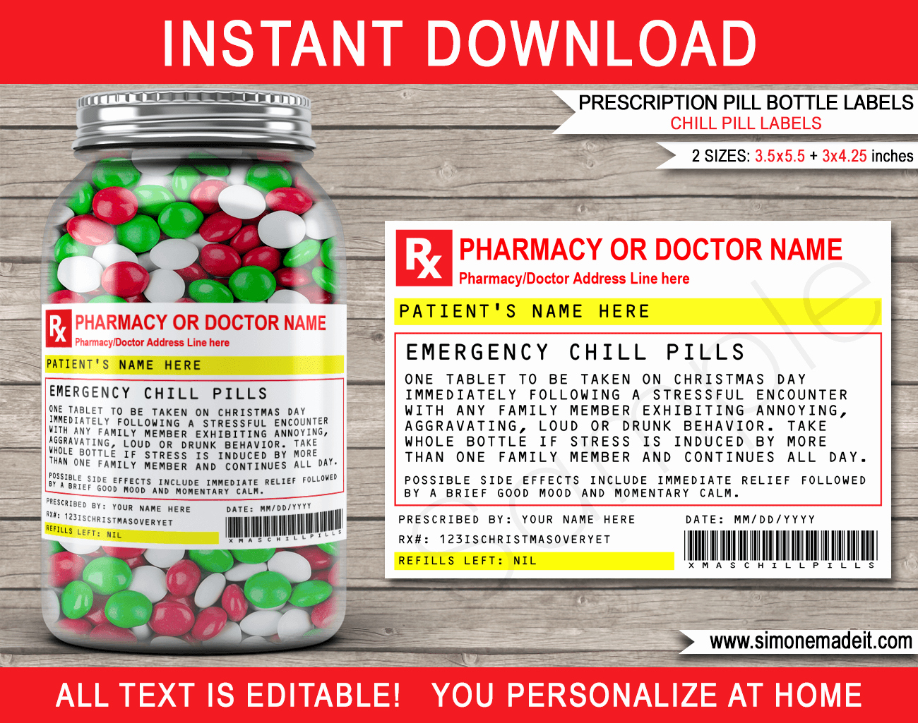 Fake Prescription Label Template Best Of Christmas Chill Pills Label Template Prescription