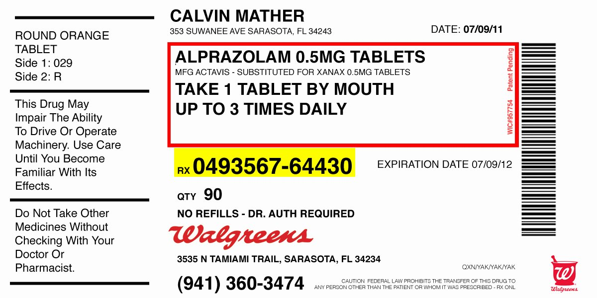 Fake Prescription Label Template Unique Calvin S Alprazolam Sammy Thrashlife