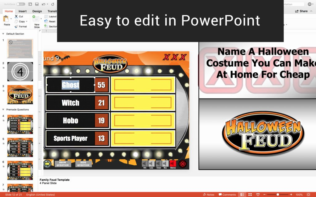 Family Feud Powerpoint Template Elegant Halloween Family Feud Trivia Powerpoint Game Mac and Pc Patible Youth Downloadsyouth