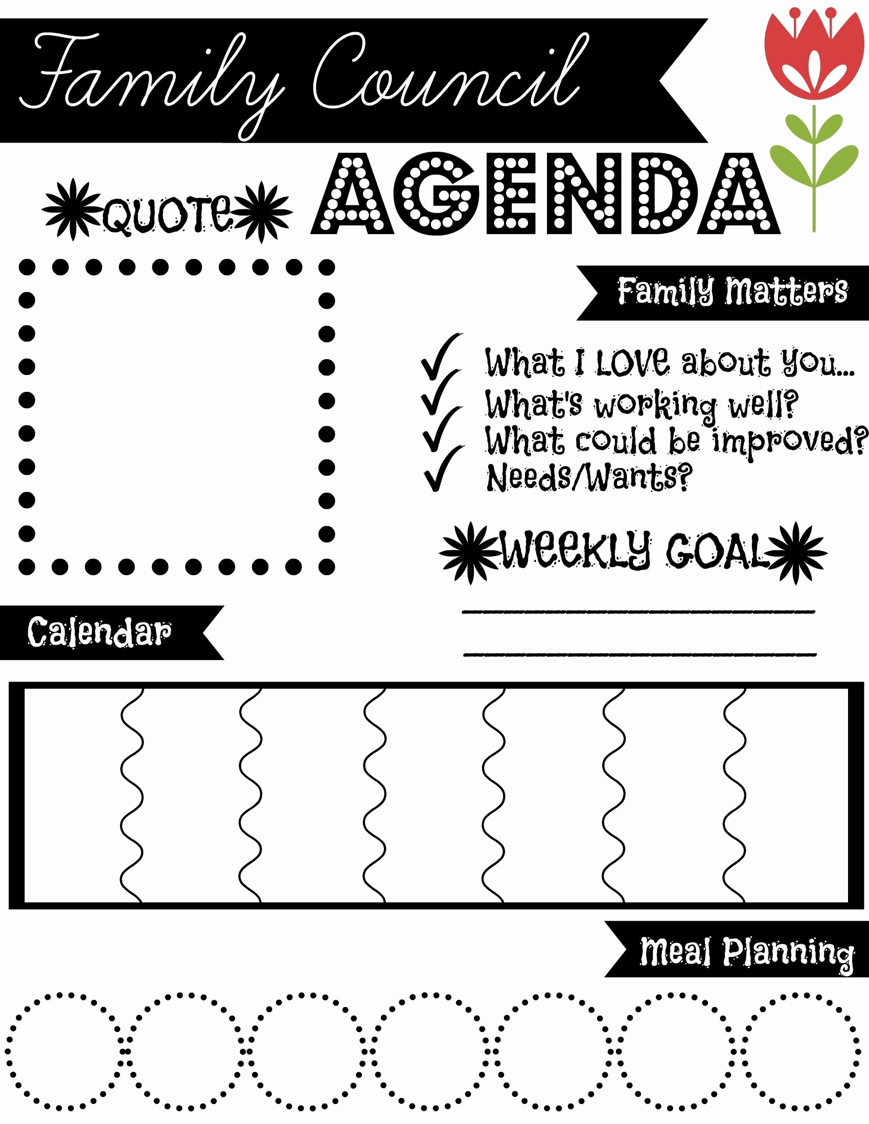Family Meeting Agenda Templates Beautiful Family Council Agenda Find More Free Printables at Dearestanddarling and On