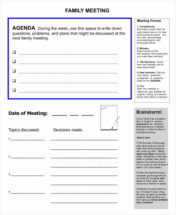 Family Meeting Agenda Templates Luxury Free 57 Meeting Agenda Examples & Samples In Doc Pdf Google Docs Apple Pages Pdf