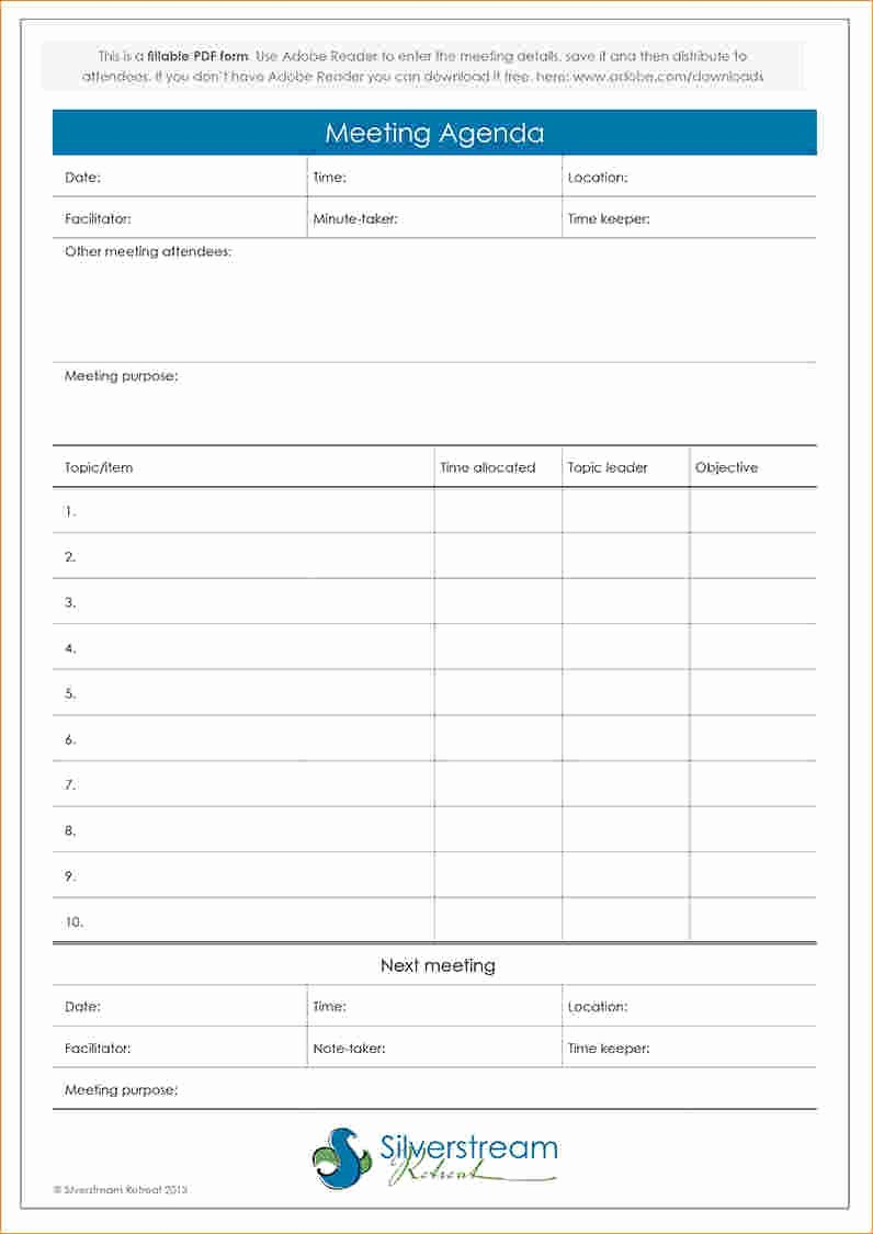Family Meeting Agenda Templates New Fillable Meeting Agenda Template Wellington Wedding & Conference