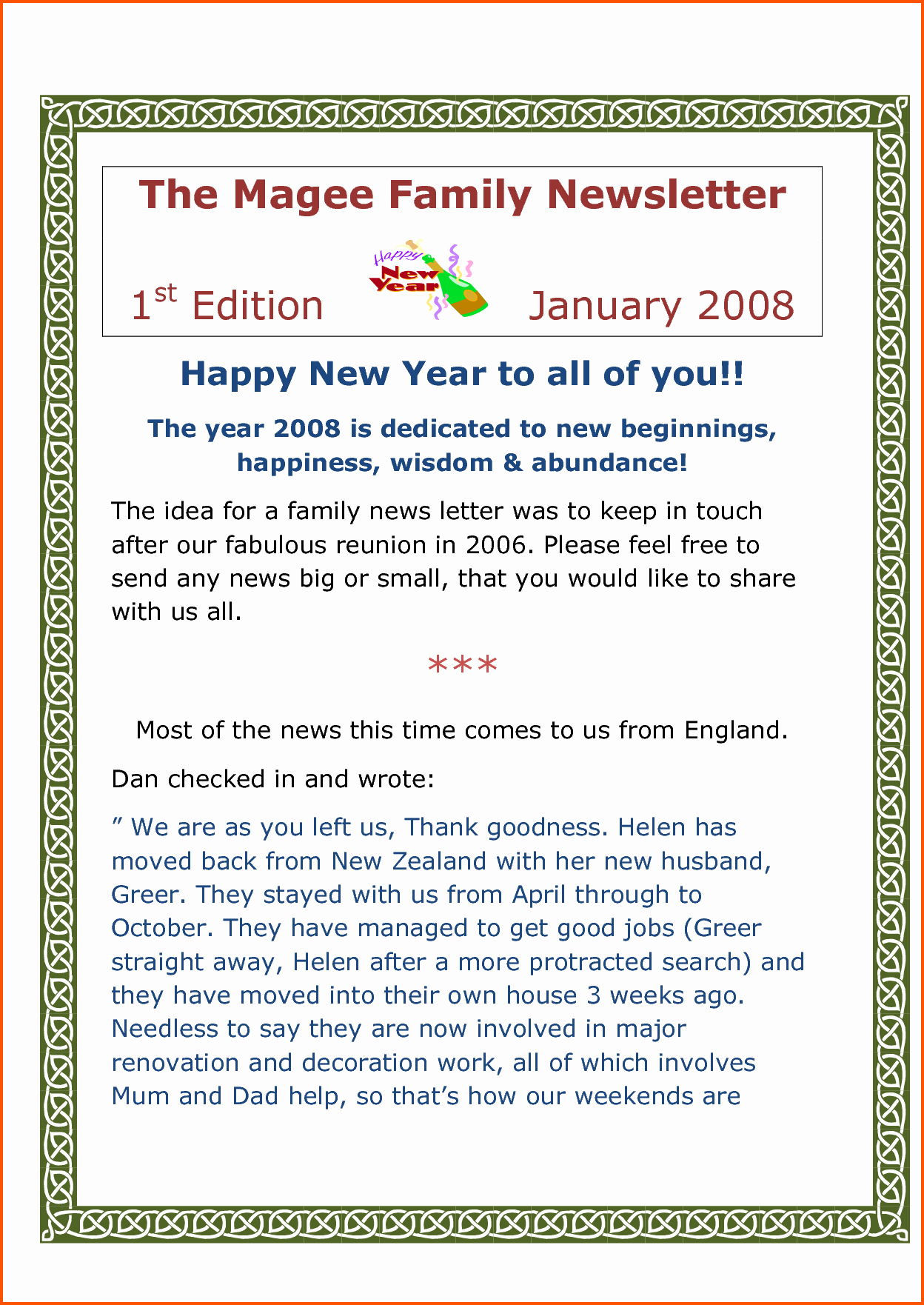Family Reunion News Letter Awesome Family Reunion Newsletter Template to Pin On