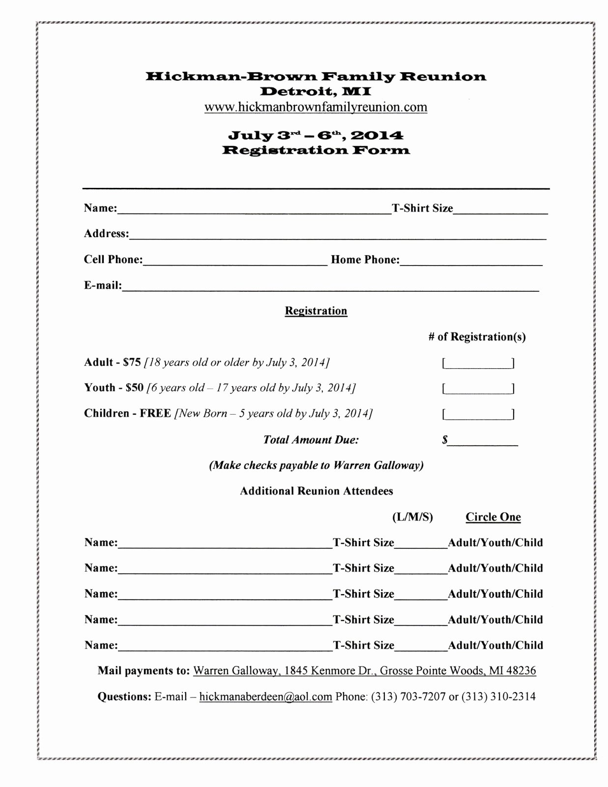 Family Reunion News Letter Awesome Family Reunion Registration form Template
