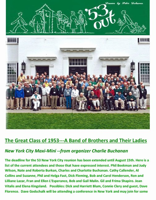 Family Reunion News Letter Inspirational Class Of 53 Reunions and Newsletters