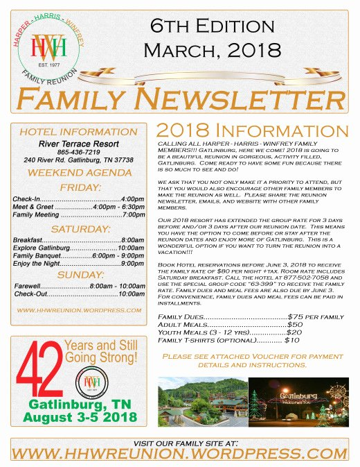 Family Reunion News Letter Inspirational Harper Harris Winfrey Reunion