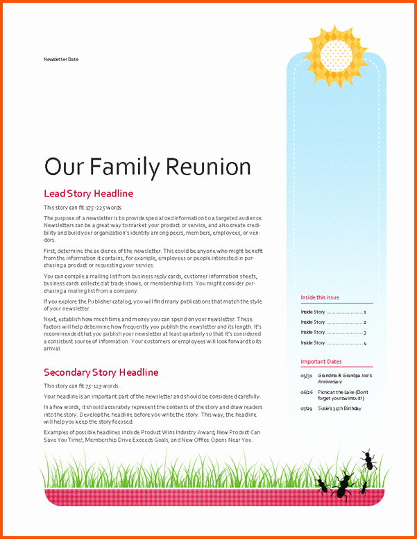 Family Reunion News Letter New 11 Family Newsletter Template