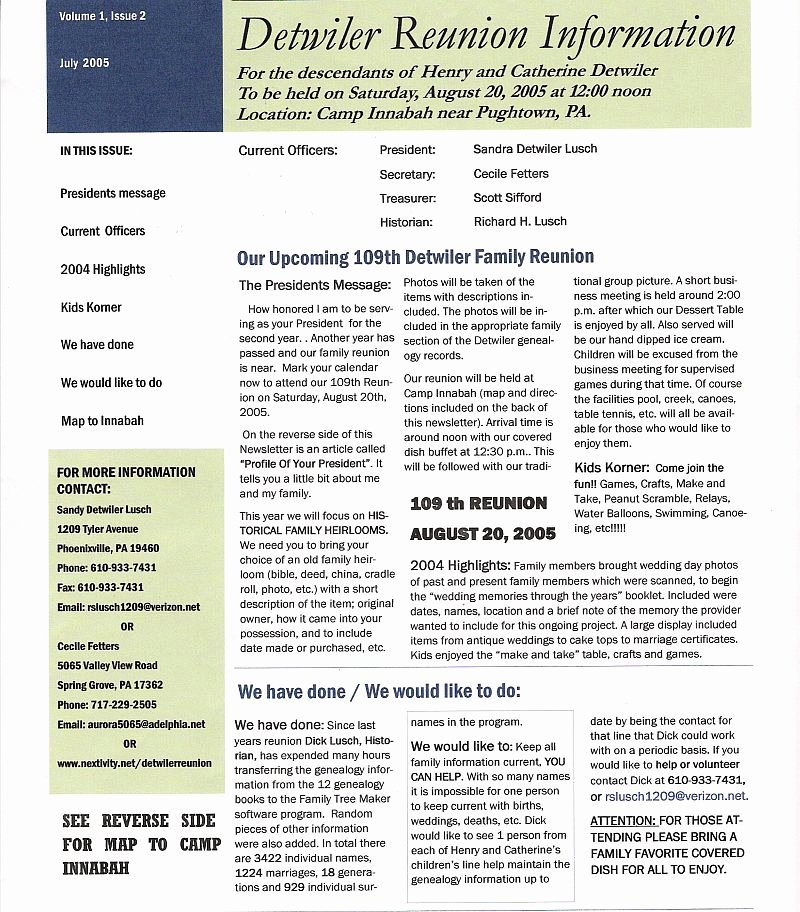 Family Reunion News Letter New Detwiler Family Web Site 2005 Reunion Newsletter