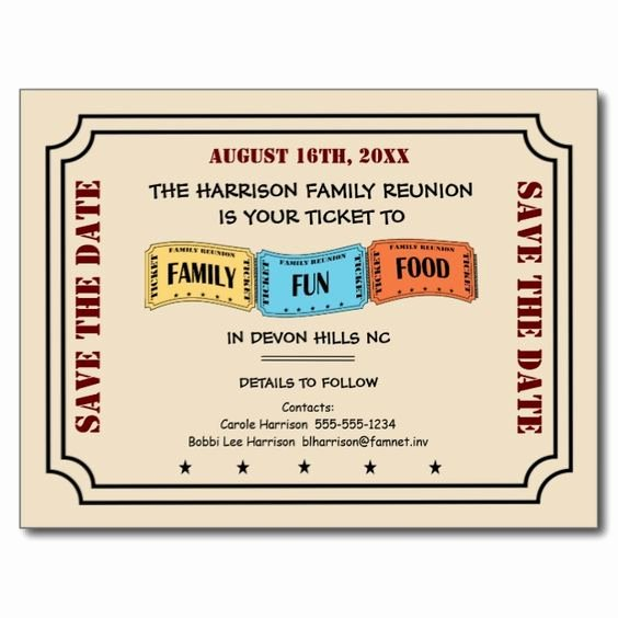 Family Reunion Save the Date Awesome Your Ticket to A Fun Family Reunion Save the Date Postcard