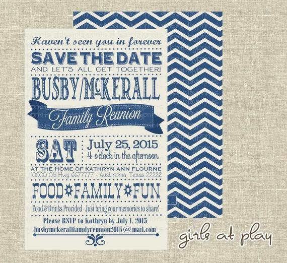 Family Reunion Save the Date Elegant Items Similar to Family Reunion Invitation Save the Date