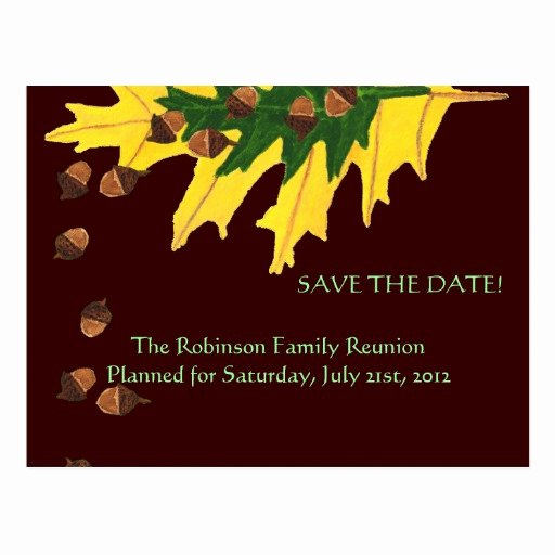 Family Reunion Save the Date Elegant Oak Leaves and Acorn Family Reunion Save the Date Postcard