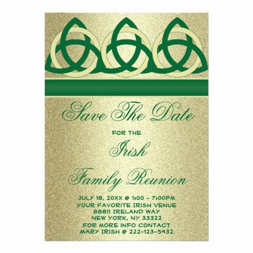 Family Reunion Save the Date Fresh Irish Green Yellow Family Reunion Save the Date