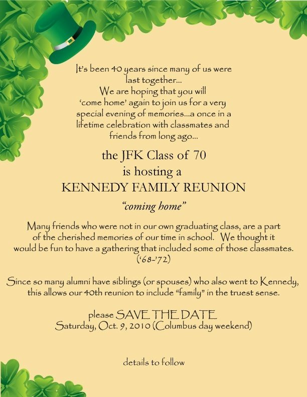 Family Reunion Save the Date Inspirational Save the Date… – Jfk High School 40th Family Reunion