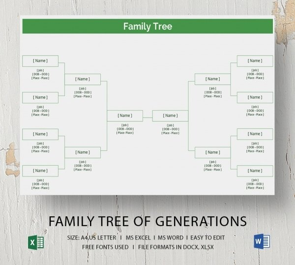 Family Tree Microsoft Word New Blank Family Tree Template 32 Free Word Pdf Documents Download