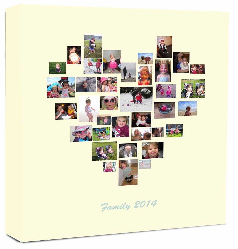 Family Tree Photo Collage Fresh Personalised Collage Canvas Family Tree Heart Shape Collage