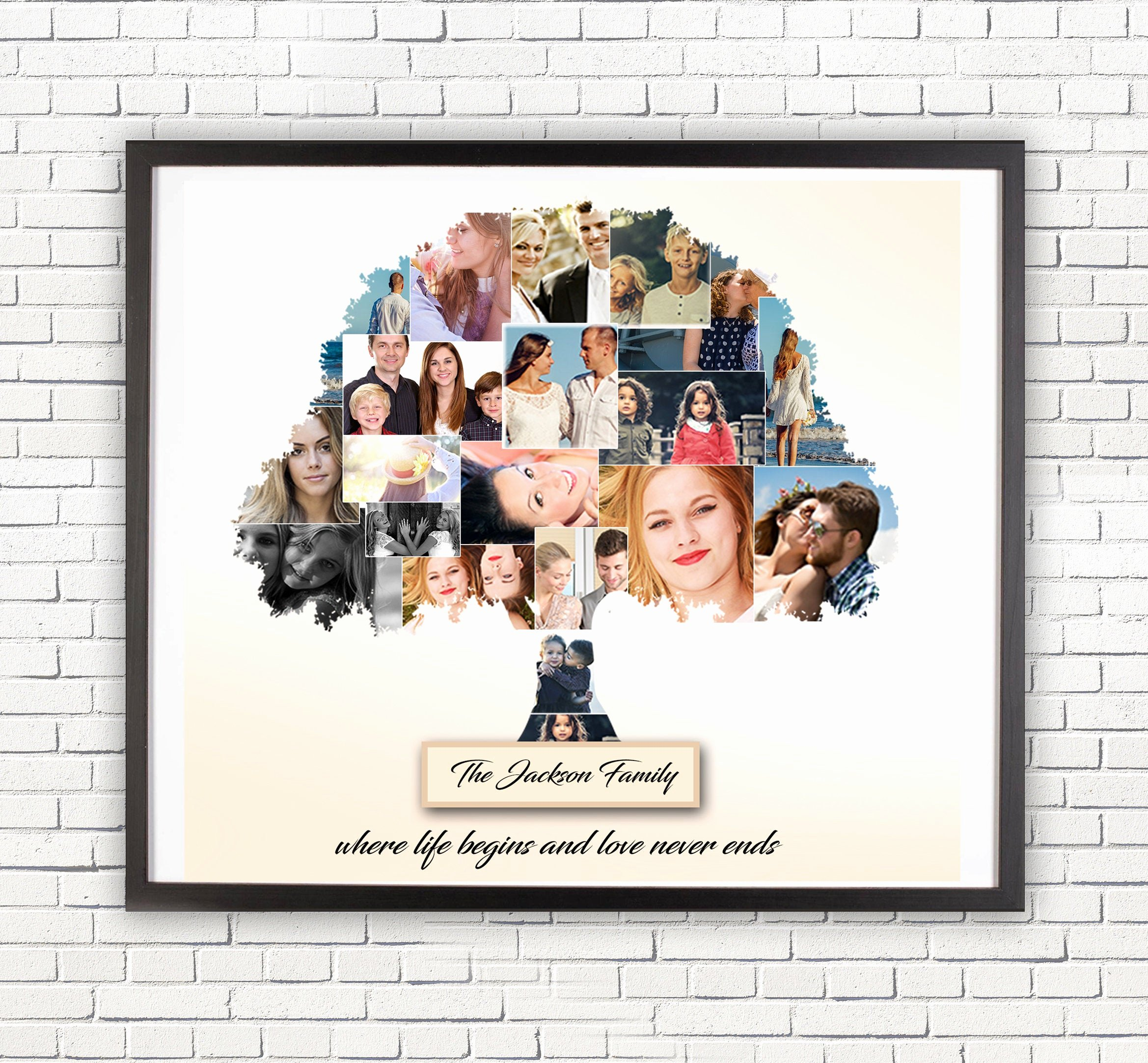Family Tree Photo Collage Unique Family Collage Custom Family Tree Anniversary Gift for
