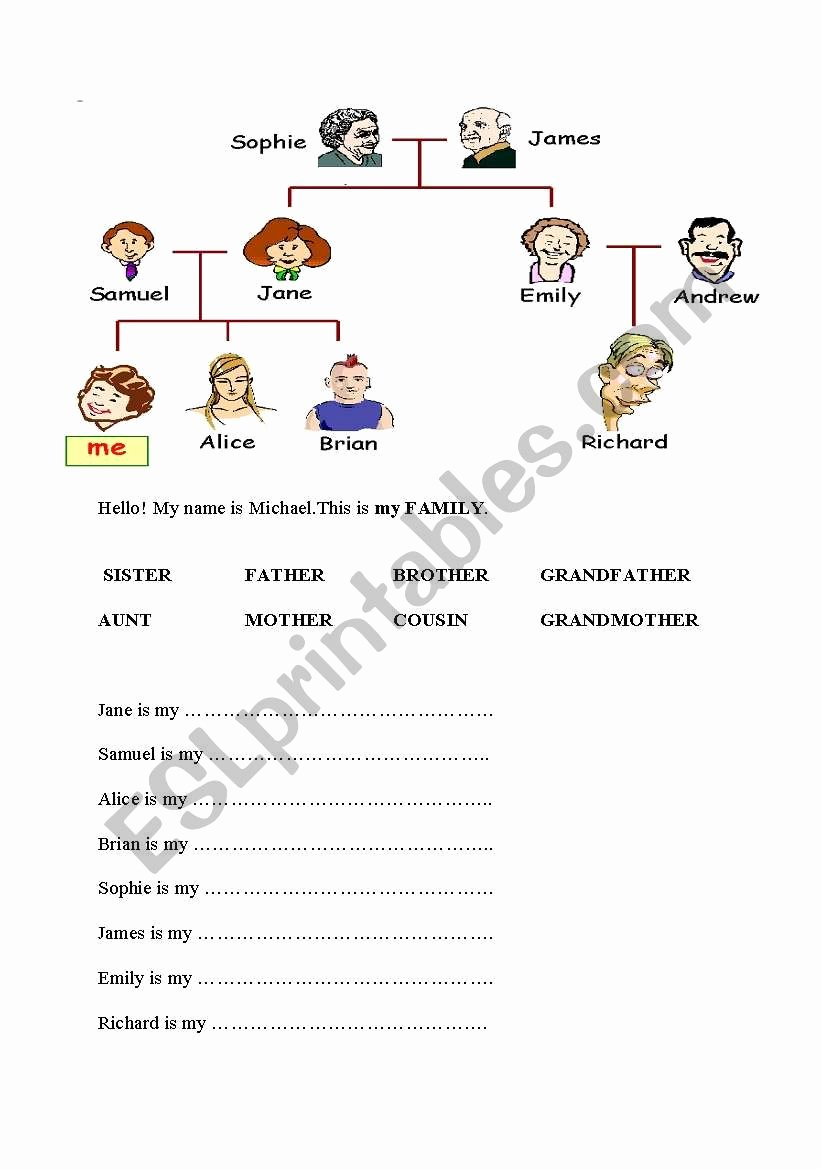 Family Tree Worksheet Pdf Luxury the Family Tree Esl Worksheet by tormenta Means Snowstorm In Italian