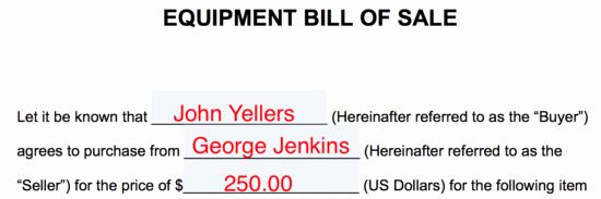 Farm Equipment Bill Of Sale Beautiful Free Equipment Bill Of Sale form Word Pdf
