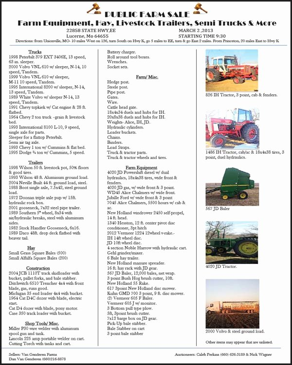 Farm Equipment Bill Of Sale New Auction List Vangenderen Farms Farm Equipment Hay Livestock Trailers Semi Trucks & More