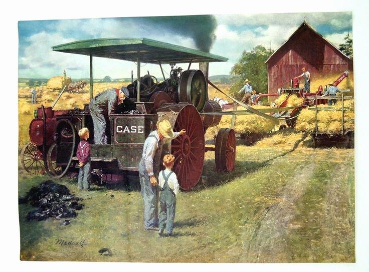 Farm Equipment Bill Of Sale New Vintage 1950 S Bill Medcalf William Medcalf Case Tractors Thresher Print Rare Art Sale