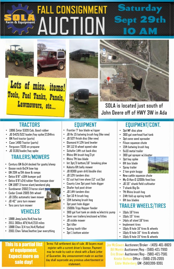 Farm Equipment Bill Of Sale Unique sola Farm & Equipment – southern Oklahoma Livestock Auction