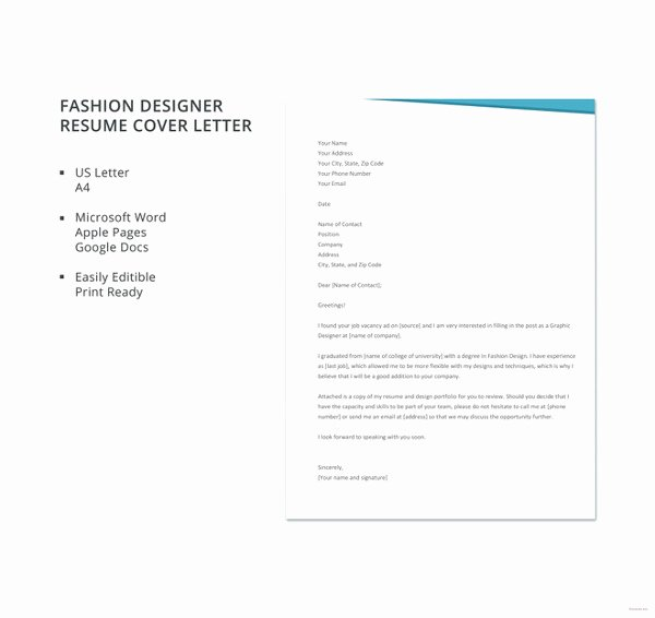 Fashion Design Cover Letter New 17 Professional Cover Letter Templates Free Sample Example format Download