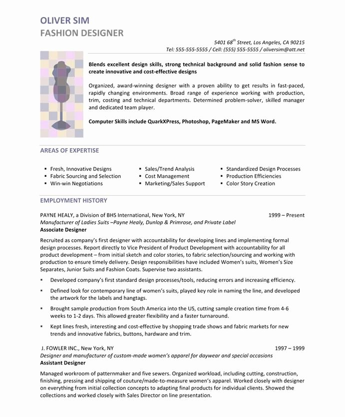 Fashion Designer Resume Sample Best Of Designer Resume Samples A Collection Of Ideas to Try
