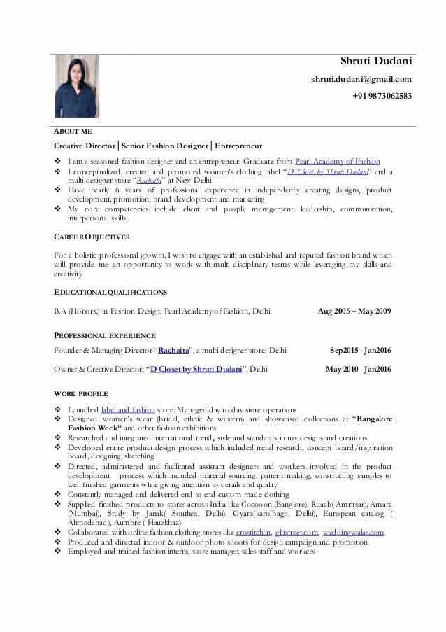 Fashion Designer Resume Sample Best Of Shruti Dudani Resume