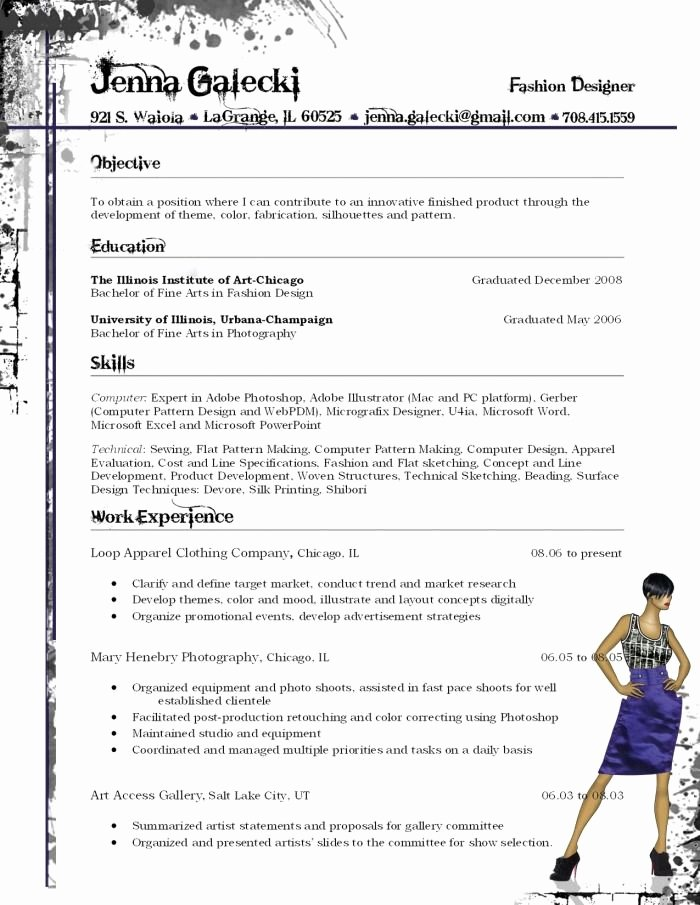 Fashion Designer Resume Sample New Fashion Resume Ideas