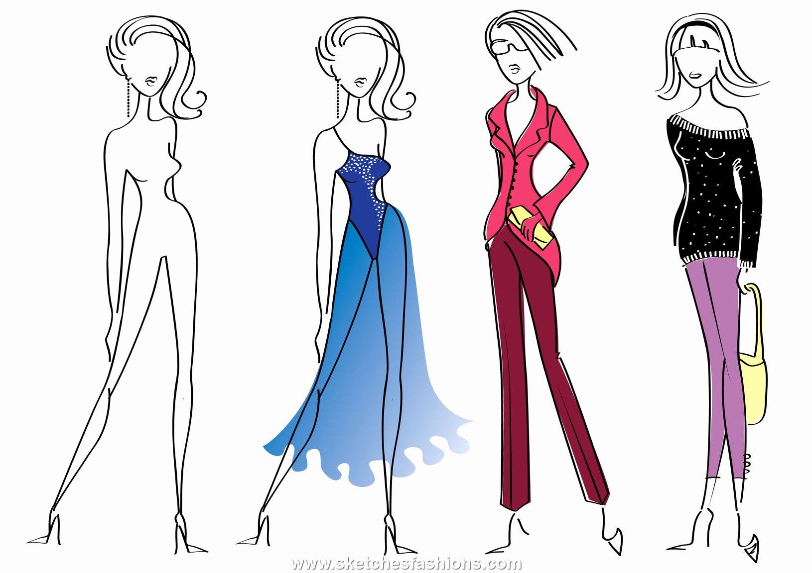 Fashion Designing Sketches Of Models Elegant Fashion Sketches